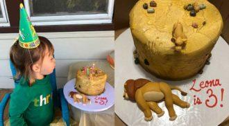 """Menina de 3 anos ganha bolo com cena triste de """"O Rei Leão"""""""