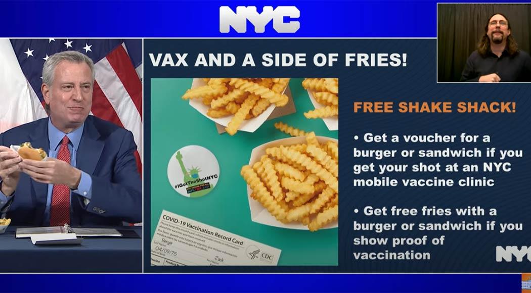 Nova York oferece burgers e fritas grátis para quem se vacinar