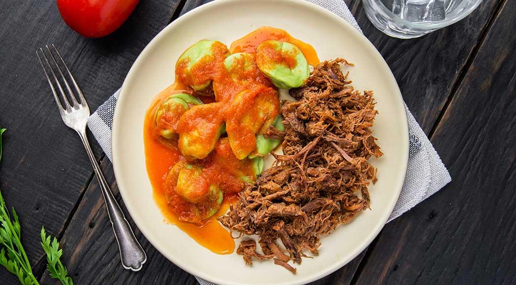 Capelloni verde com carne desfiada (Foto: Divulgação)