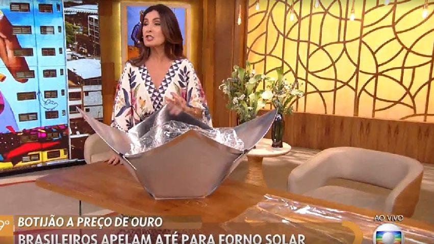Fátima Bernardes sugere driblar preço do gás com 'forno solar de papelaria'